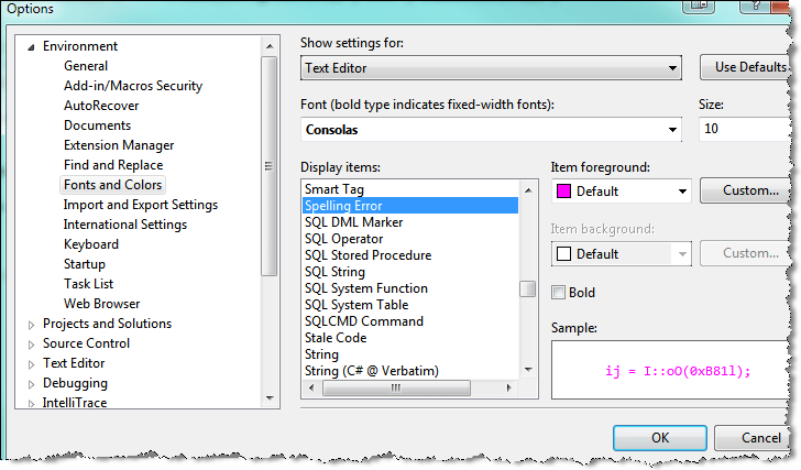 visual studio spell checker change color